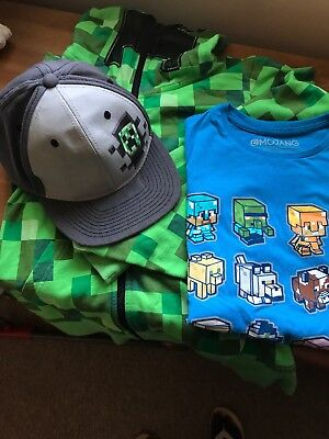 Minecraft Clothes Bundle Age 7 -10 Years Hoody Cap T Shirt
