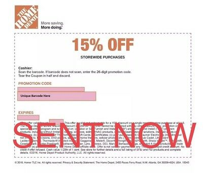 ONE 1x Home Depot 15% Off-1coupon- In Store Only -saving 200$ max 12/24