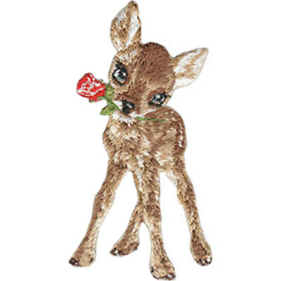 Embroidered Iron On Applique Patch Holly Fawn Baby Reindeer Deer