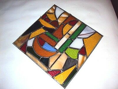 """vintage stained glass hanging art free flow modernist 12"""" square stained glass"""
