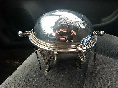 Roll Top Butter Caviar Dish Elk Reindeer Stag Footed  Meriden B. Silverplate Vtg