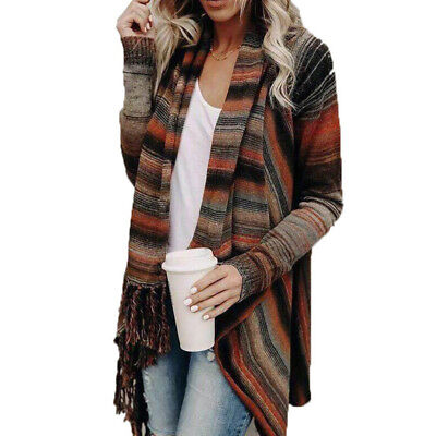Women Irregular Tassel Knitted Cardigan Jacket Coat Casual Loose Sweater Outwear