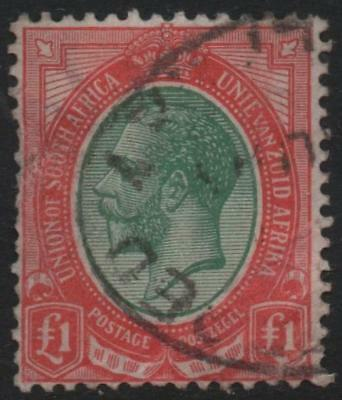 SOUTH AFRICA: 1916 Sg 17 £1 Green & Red Good Used Example - Cat £350 (20598)