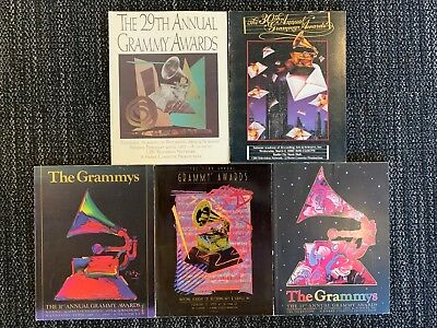 Five (5) Official Grammy Awards Programs from 1986 - 1990 Michael Jackson RARE