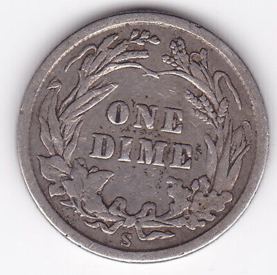1908 S United States of America One Barber Dime 90% Silver