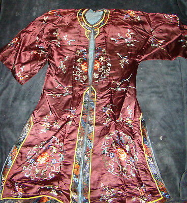 Antique Vtg Maroon Silk Embroidered Robe Kimono Chinese Asian Japanese Small