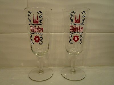 Rare Set of 2 Vintage Andeker Beer Stemmed Faceted Chalices - Brewed by Pabst