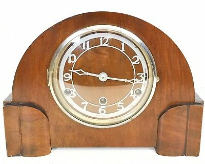 British Walnut Westminster Chiming Mantle Clock