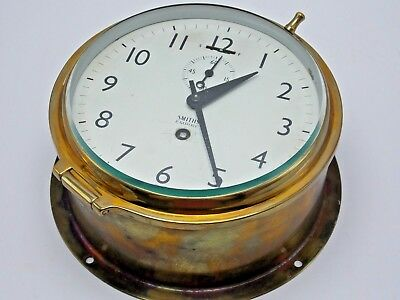 Vintage Antique Smiths Empire brass ships clock made in Great Britain 6 inch