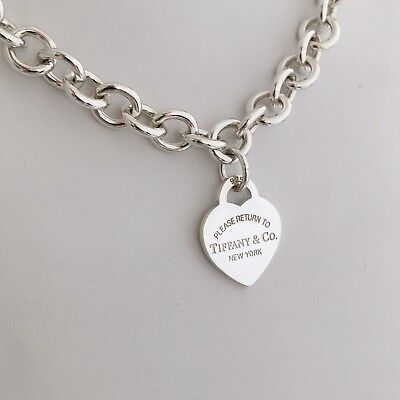 74bc597318c17 PLEASE RETURN TO Tiffany & Co Sterling Silver New York 925 Heart Tag  Necklace