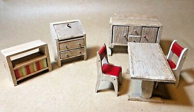Dolls' House Furniture Set of 6 Items, Wooden Vintage Table/Chairs/Bureau