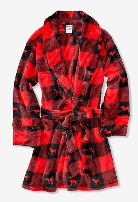 a11ee0ed2b Victoria s Secret PINK Short Robe Red Black Plaid XS S Small X-Small Cozy