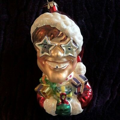 "Christopher Radko ""Sir Elton Claus"" / Elton John AIDS Fund Glass Ornament, VG+"