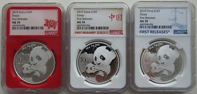 NGC MS70 First Releases China 2019 Panda Silver Coin 30g 10 Yuan 3 Type Label
