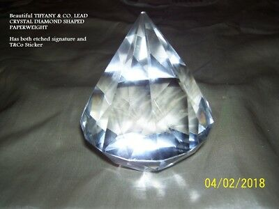 Vintage Tiffany & Co Lead Crystal Diamond Shaped Paperweight Authentic & Signed