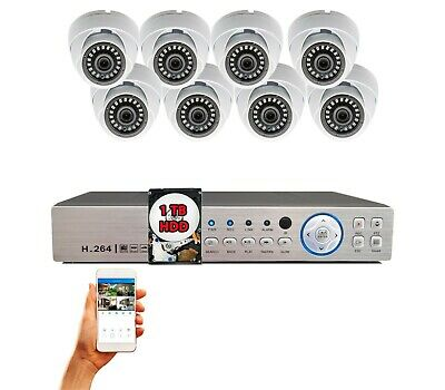 8 Channel CCTV system with 1080p HD Indoor/Outdoor Dome security Cameras 1TB HDD