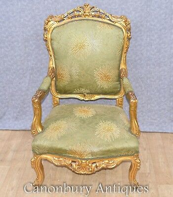 Pair French Accent Chairs - Empire Gilt Fauteuils