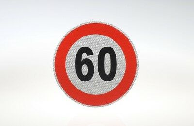 Notice Sign 60 km / H  mph Speed Sticker Red/White