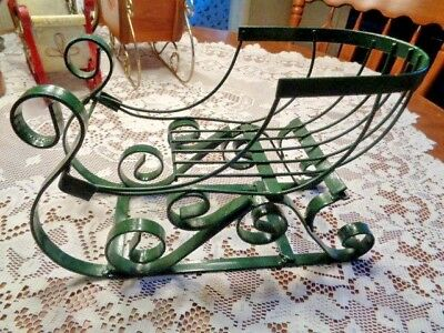 """Christmas Holiday Decoration Metal Tabletop Sleigh w/Red Bow 12"""" x 8"""" x 5.5"""""""