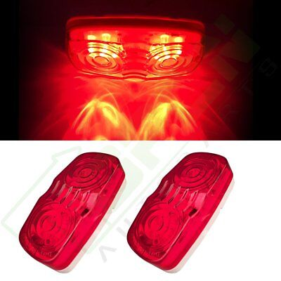 """2pcs 4"""" Red Identification Light Double Bubble 12 Diodes for RV Trailer Pickup"""