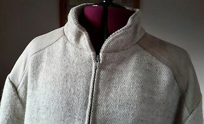 Vintage SAMBAND OF ICELAND Wool Lined Beige Jacket Size L Tan Suede Accents
