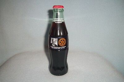 Coca-Cola 8 oz commemorative bottle ROTARY CLUB of CLEARWATER HERB BROWN