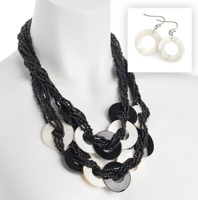 Black and white bead shell effect necklace set