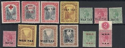 BAHAMAS War Tax, etc overprints - Mounted Mint