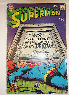 DC Comic Superman 213 Jan 1969 Silver Age Neal Adams Cover Vault of Death
