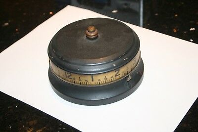 rare working TAPE MEASURE CLOCK drum cylinder barrel OLD wind rotating ANTIQUE