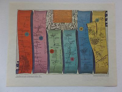 "13"" x 10.5"" Print Reproduction - Road Map from London to Oxford by John Ogilby"
