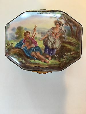 Antique Porcelain Box Hand Painted Signed Made in France for Marshall Field & Co