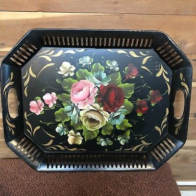 Antique TOLEWARE Hand-painted SERVING TRAY Black/Floral METAL Tole Paint VNTG