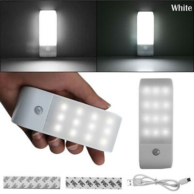 12LED USB Rechargeable PIR Motion Induction Sensor Closet Nightlight Lamp Light