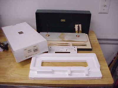 CROSS 5203 WHITE PEDRARA ONYX WITH 10K GOLD FILLED PEN & PENCIL double DESK SET