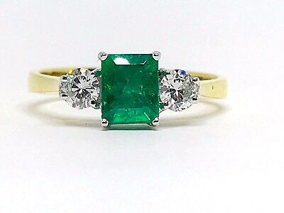 1.00ct.Natural Colombian Emerald & 0.40ct.Diamonds 18k Yellow Gold Ring Size O