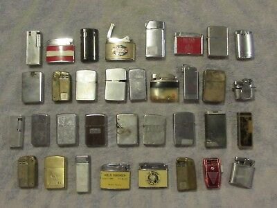 Vintage lot of 34 Old Lighters. w/ 8 Zippo's!