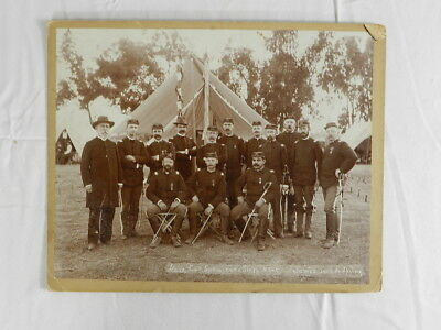 Vintage Civil War Soldier Group Photo Antique Military Mounted