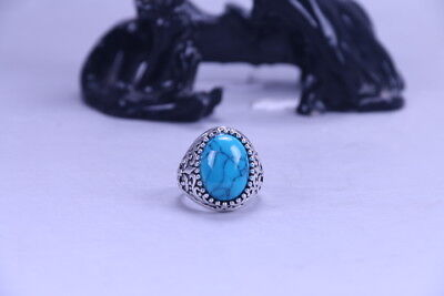 Exquisite Chinese handmade Tibetan silver inlaid Blue Turquoise Ring