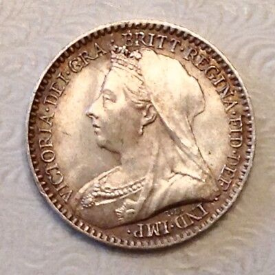 - Great Britain 1897 Victoria Silver Maundy Penny Uncirculated Unc