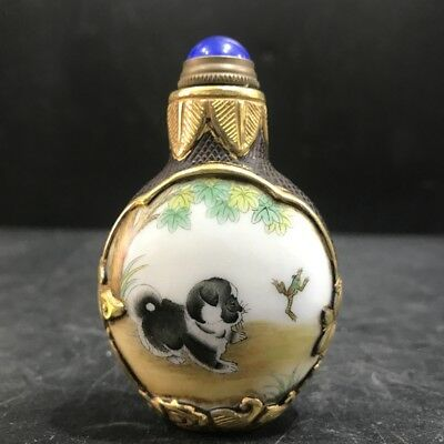 Collect Chinese painting dogs in glass snuff bottles—qianlong mark.   byh118