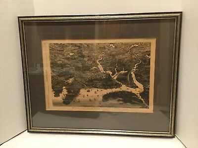 Rare Antique 1872 Birds Eye View of Boston & Harbor Harpers Weekly Quality Frame