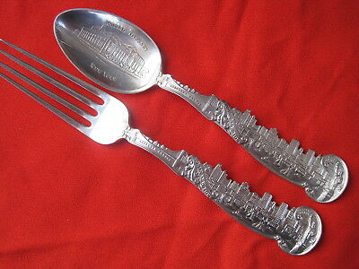 Matching Lower New York Skylines Sterling Souvenir Spoon And Fork