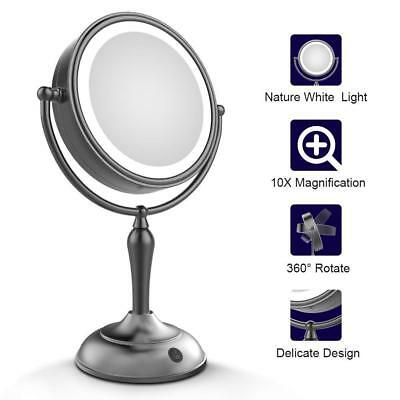 """MIRRORMORE LED Makeup Mirror Lighted Vanity 1x/10x Magnifying 7.5"""" Double Sided"""
