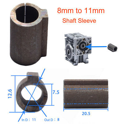 Shaft Sleeve 8mm to 11mm for 8mm Shaft motor to 11mm Bore Worm Gear Reducer