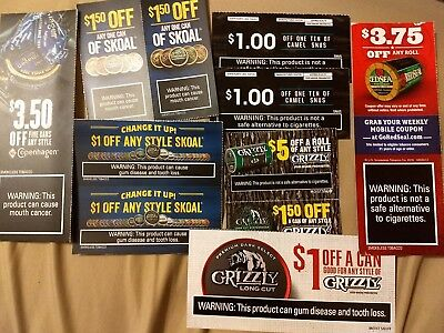 Skoal Grizzly Copenhagen Red Seal Camel Chewing Dip Tobacco Coupons