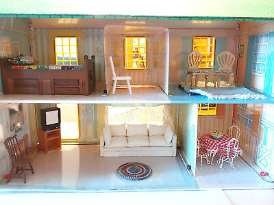 Vintage Wolverine Tin Litho 2 Story Doll House No. 805  w/ Some Furniture