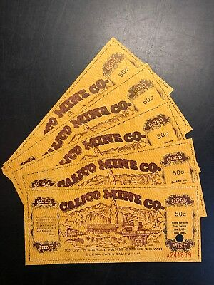 Vintage 1969 Knott's Berry Farm & Ghost Town, Calico Gold Mine Co 5 Ticket Stubs