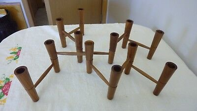 Vintage Walnut Candleholder Set of 2, Holds 6 Candles Each, Lovely Set!