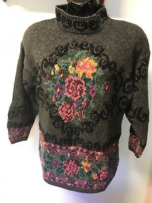 Handknitted CIE Internationale Express Vtg Pullover Charcoal Sweater Floral Sz S